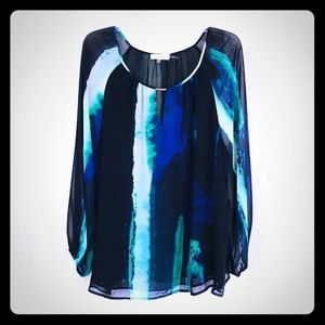 Calvin Klein Watercolor Sheer Blouse Blue Black 1X